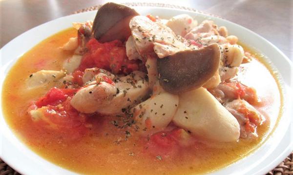 チキントマトエリンギの蒸し物