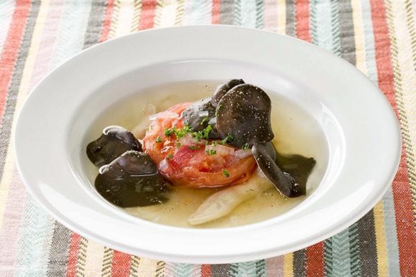霜降りひらたけとトマトの贅沢スープ